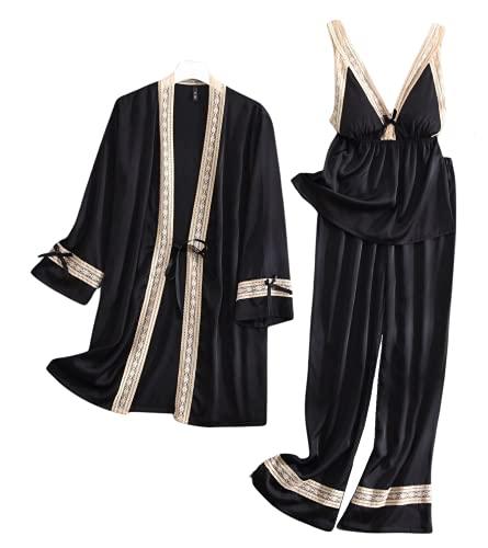 Laura Lily - Pijamas Mujer de Seda Satén con Encaje y Lazos, Conjunto de 3 Piezas, Bata, Top y Pantalones. Suave, Cómodo, Sedoso y Casual. (Negro, M-L)