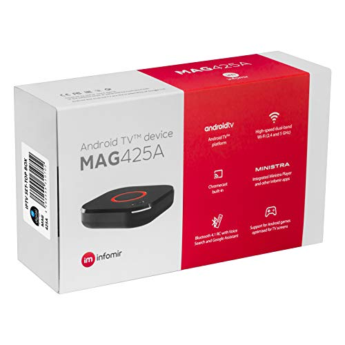 MAG 425A Infomir & HB-DIGITAL 4K IPTV Set TOP Box ANDROID TV 8.0 Multimedia Player Internet TV IP Receiver # UHD 2160p@60 FPS HDMI 2.0 USB 3.0 HEVC H.256 # ARM Cortex-A53 # WLAN 802.11ac + HDMI Kabel