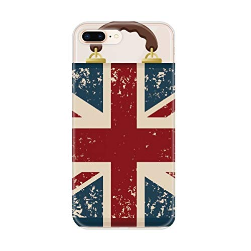 DIYthinker Union Jack Retro koffer Groot-Brittannië Vlag Cultuur Apple iPhone 7/8 Telefoonhoesje Flexibel TPU Zacht Transparant Cover Gift, Bumper Hoes, iPhone 7/8 case