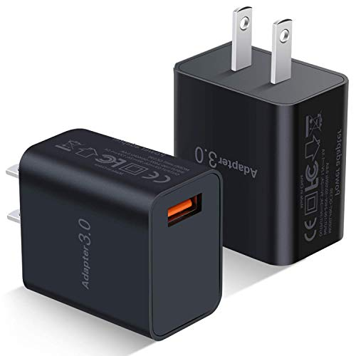 USB Wall Charger, Besgoods 2-Pack 18W QC 3.0 Charger Adapter Phone Charger Block Fast Charging Compatible with Wireless Charger, Samsung Galaxy S9 S8 Note 8 9, iPhone, iPad, LG, HTC and More