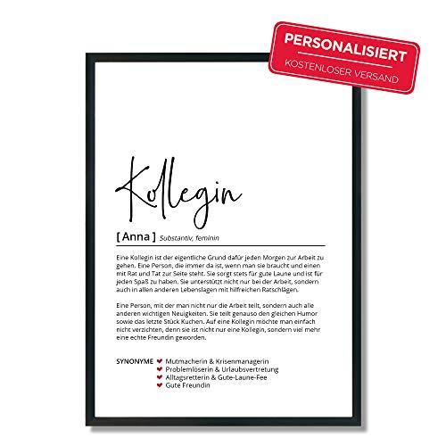 Kollegin Definition | Personalisiertes Poster | Geschenk | Geburtstag | Abschied | Arbeit | Wörterbuch | Skandinavisch | OHNE Rahmen