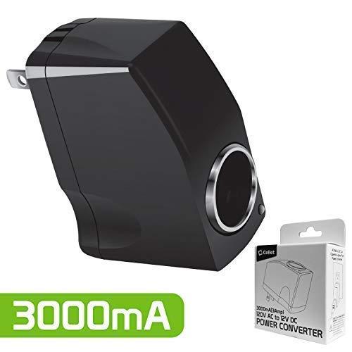 Cellet AC to DC Power Converter 120V/110V AC to 12V DC 3Amp 3000mA Car Cigarette Lighter Socket Power Adapter 12V Output AC Wall to DC Car Cigarette Lighter Port Power Convert Convert 120V/110V to 12V