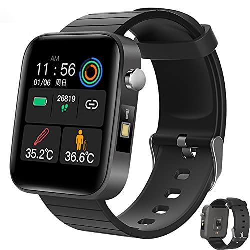 APCHY Smart Watch Reloj Inteligente,Fitness Tracker con Ritmo Cardíaco Y Monitor De Sueño Monitor De Oxígeno De Sangre Y Sangre De Sangre, IP67 Cronómetro Impermeable para Los Hombres,Negro