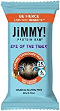 JiMMY! Eye of The Tiger Protein Bar, Caramel Chocolate Nut Flavor, 25g Protein with Guarana Caffeine and Turmeric, Grain a...
