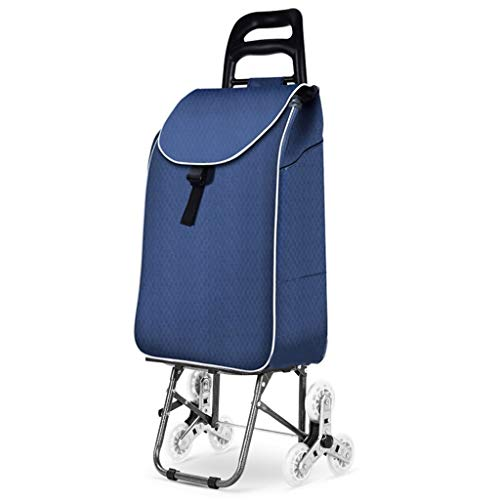 Handwagen Trolley Blue Uphill Einkaufswagen Home Grocery Einkaufswagen Folding Small Cart Pattern Trolley 5 Farboptionen (Color : D, Size : 25 * 23 * 101cm)