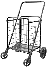 XINGLANG Folding Shopping Cart, Collapsible and Heavy Duty Grocery Cart, Easy Moving Deluxe Utility Cart with 360°Rolling Swivel Wheels, 80L Capacity Shopping Cart for Groceries(Black)