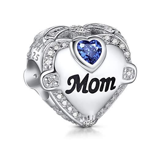 NINGAN I Love Mom Charm se adapta a pulseras Pandora, cuentas de plata de ley 925 para collares, feliz cumpleaños, regalo de San Valentín para mujer, esposa
