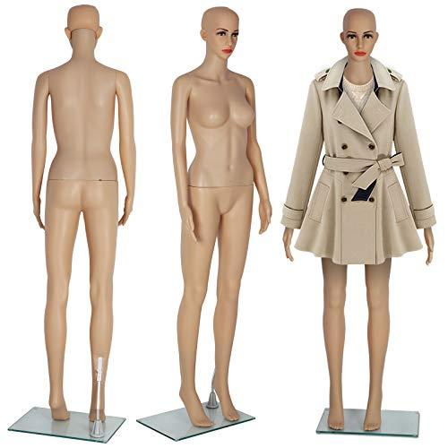 KingSaid Weiblich Schaufensterpuppe Mannequin Frau 360° Beweglich Schaufensterpuppe mit Halterung 175cm