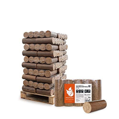 HEIZFUXX Holzbriketts Hartholz Nestro XL Kamin Ofen Brenn Holz Heiz Brikett 10kg x 30 Gebinde 300kg / 1 Palette Paligo