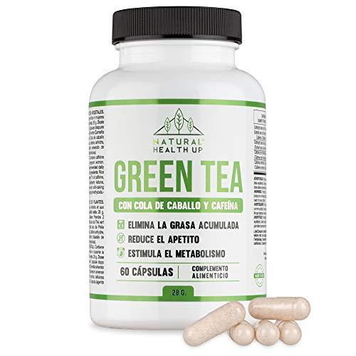 Té verde con cola de caballo y cafeína para eliminar la grasa acumulada - Adelgazante que contribuye a acelerar el metabolismo - 60 cápsulas