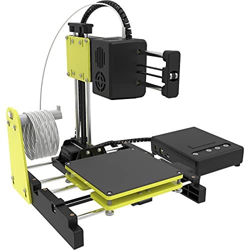 NantFun Mini impresora 3D pequeña impresora 3D para niños y principiantes, calentamiento rápido, silencioso, tamaño de impresión 10 m – 1,75 mm, color negro y amarillo