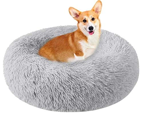 Pet Bed, Cat Dog Beds, Plush Donut Soft Comfortable Round Waterproof Anti-Slip Bottom Calming Dog Bed For Dogs Mattress Extra Large, Gray XYXG