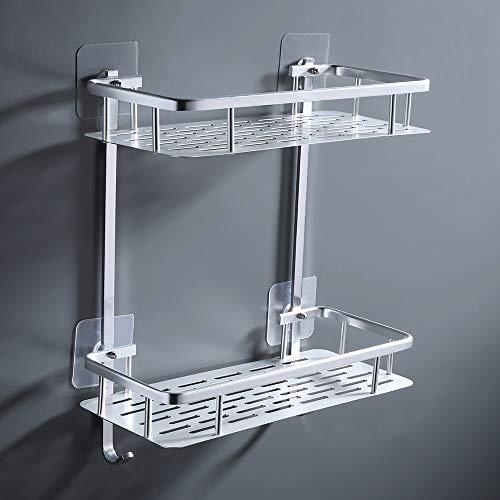 UMI. von Amazon Duschregal Duschablage Wandregal Ohne Bohren mit Haken Duschkorb Badezimmer Regal Dusche Ablage 2 Etagen Selbstklebend Aluminium, A4028BDF