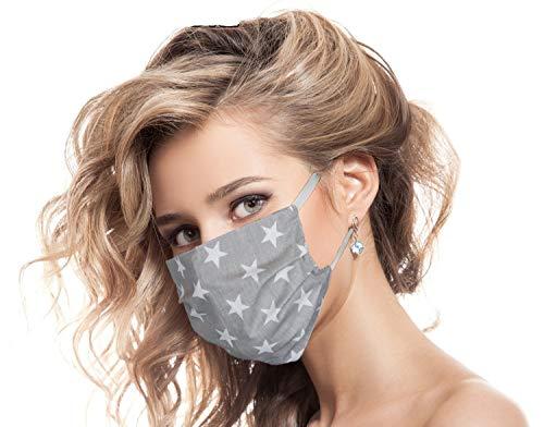 Urhome Behelf Gesichtsbedeckung 100% Baumwolle Made in Europa, Kälteschutz Gesichtsmaske, Staubdichte Maske I 10 x Bedeckung Grau mit Sternen