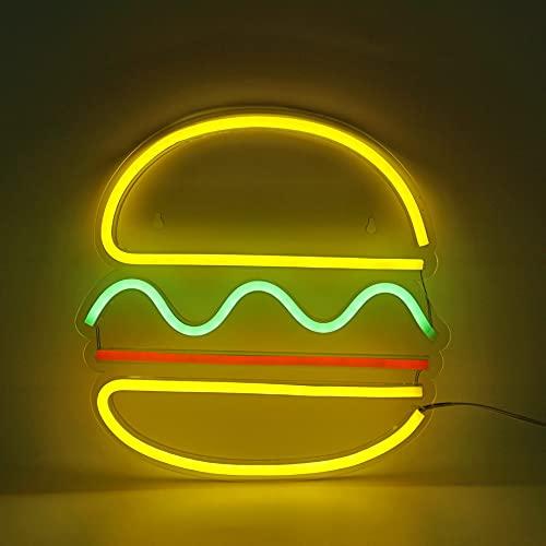 LED Neon Light, Hamburger Neon Sign USB Powered Wall Art Light, Neon Night Lights Home Decoration for Table Room Bedroom Party Wedding