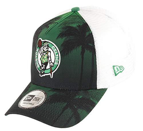 New Era Boston Celtics Frame Adjustable Trucker Cap NBA Palm Tree Green/White - One-Size