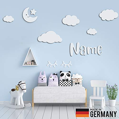5er Set Wolken Holz mit Mond, Stern und Individueller Text/Name | 3D Effekt | Kinderzimmer Deko | Kinderzimmer Wanddeko selbstaufklebend (L, Weiß)