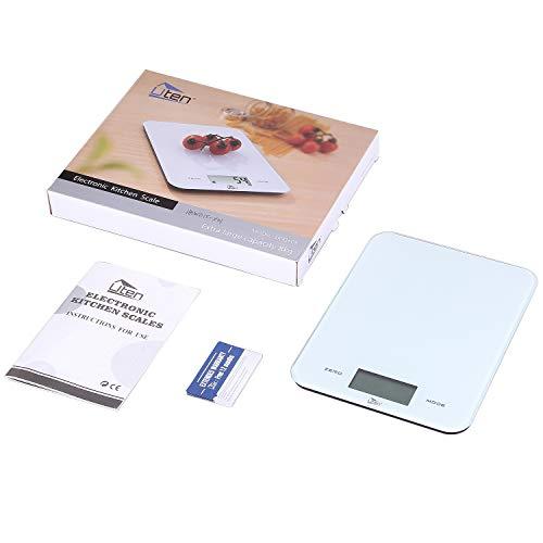 Uten Báscula Digital de Cocina de alta Precisión,8kg / 17lbs, Báscula de Acero Inoxidable, Balanza de Alimentos Multifuncional, Peso de Cocina, Blanco,Ideal Para Hogares, Cocinas,
