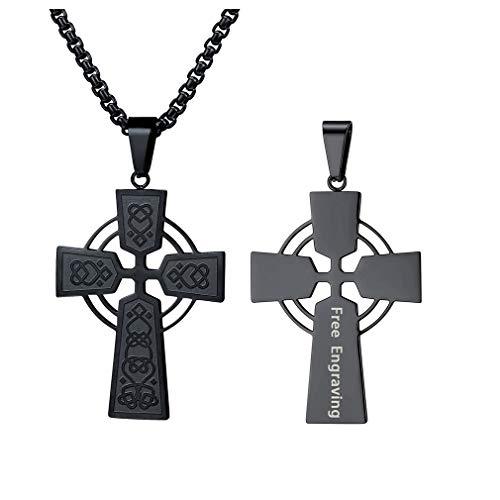 FaithHeart Schmuck Edelstahl Herren Halskette Kreuz Anhänger mit 3mm breite Box Kette - Irischer Knoten Keltisch mit 55cm Schwarz Gliederkette, gravierbar