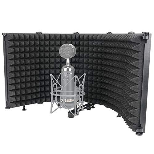 Placas Aislamiento Acustico para Micrófono 5 Paneles Absorbentes Acusticos Plegable Anti-Pop Espuma...
