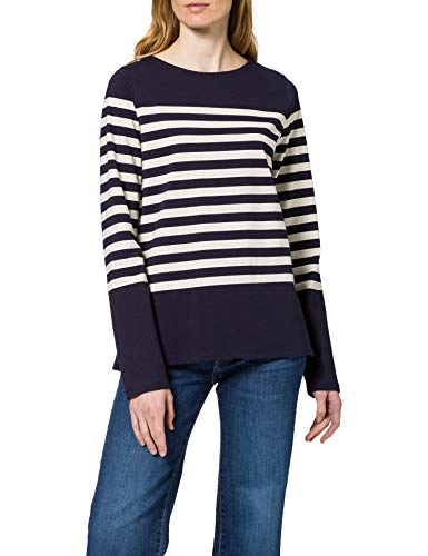 Scotch & Soda Langärmliges T-Shirt aus Baumwoll-Stretch Camiseta, 0217 Combo A, XL para Mujer
