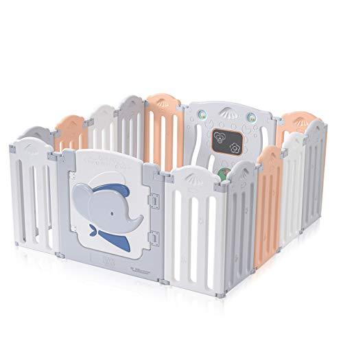Baby Vivo Parque para Niños de Plástico Plegable de Puertas Parque Corralito Barrera de Seguridad 14 Elementos en Gris, Blanco, Naranja - Capitán Benjamin
