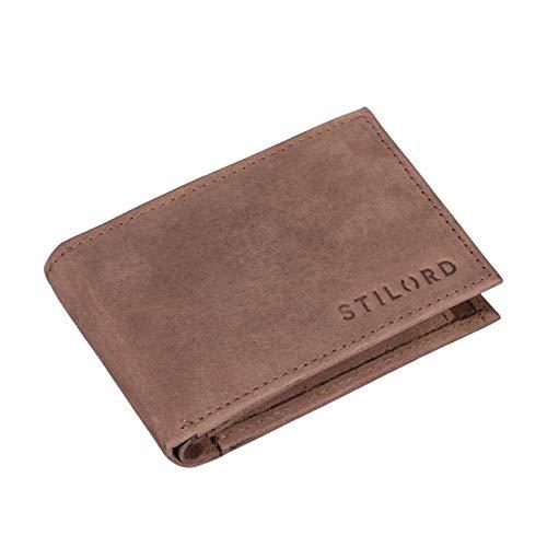 STILORD 'Lincoln' Monedero Mini Billetera Cuero RFID NFC Protección Slim Wallet para Hombres y con Billetera Mondero Piel, Color:Austin - marrón
