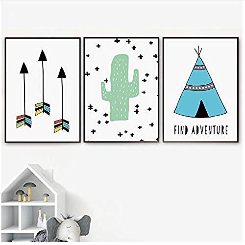 Canvas print,Cartoon Tent Arrow Cactus Minimalistische Wall Art Creativiteit Nordic Posters en Prints Muurfoto's Baby Kinderkamer Home Decor-30x40x3Pcscm