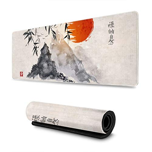 Vintage Ink Painting Japanese Sumi-E Bamboo Sun Mountains Gaming Mouse Pad, Long Extended XL Mousepad Desk Pad, Large Non-Slip Rubber Mice Pads Stitched Edges, 31.5'' X 11.8''