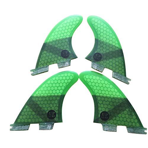 UPSURF Tabla de Surf FCS II Aletas Fibra de Vidrio Quad Fin Thruster Set Tener Panal para Surf Paddle Board (Verde K2.1)