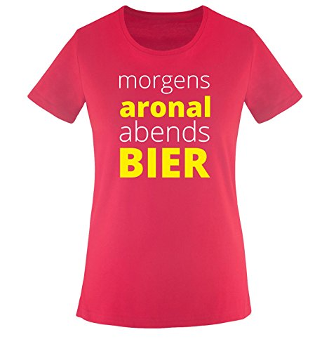 Morgen ARONAL ABENDS Bier - Damen T-Shirt - Sorbet/Weiss-Gelb Gr. XL