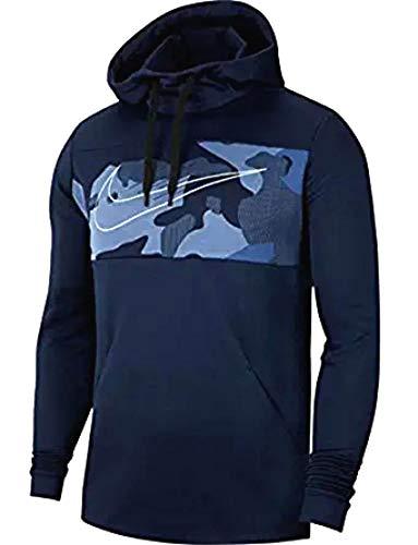 Nike Men's Therma Pullover Swoosh Dri-Fit Hoodie, (Size Medium, Omega Blue/Strike White/Navy)