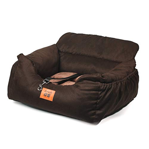 laamei Hunde Autositz 2-in-1 Hundebett Waschbar Faltbar rutschfest Hundsitz für Auto Tierbett Katzenbett Hundeerhöhung Reisen Front Booster Sitze für Hunde Katzen(Typ2-Braun)
