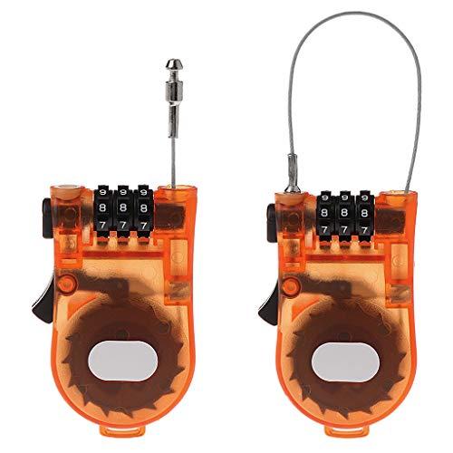Yanhonin Rétractable Câble antivol pour Bagages Skis poussettes Sécurité Combinaison à 3 Chiffres Nombre Cadenas