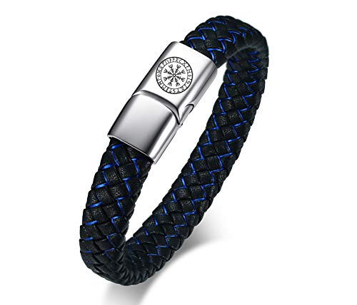 NJ Norse Viking Bracelet - Stainless Steel Black Blue Braided Leather Viking Runes Cuff Bracelets Hrungnir Odin Nordic Amulet Jewelry for Men Women with Magnetic Clasp