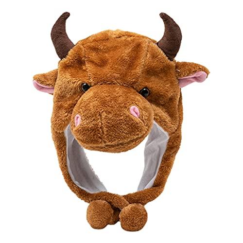 XuHangFF Kawaii - Gorro de vaca de peluche con diseño de animales de dibujos animados para regalo a prueba de viento y cálido, para Halloween, accesorios