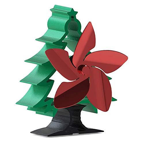 TOPVORK Ventilador de estufa alimentado por calor en forma de árbol de Navidad con 5 aspas para chimenea, leña, quemador de leña, chimenea