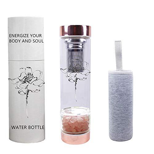 AITELEI Botella de Agua de Gemas con infusión de Elixir de Cristal con infusor de té, colador de té de Botella de Agua de Cristal con Cristales extraíbles para el Bienestar de Chakra - 15 oz