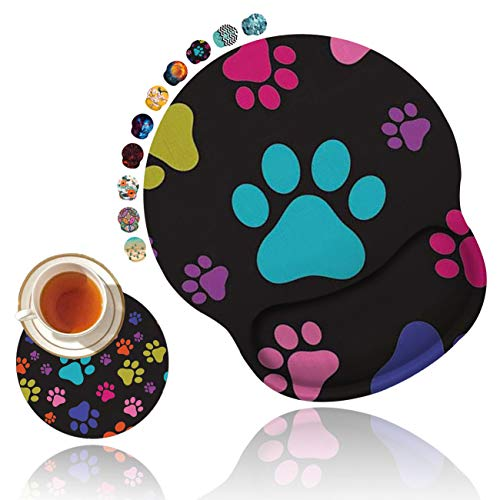 Ergonomic Mouse Pad with Gel Wrist Rest Support, Non Slip PU Base Mouse Pad Wrist Rest for Computer, Laptop, Home Office Gaming, Easy Typing & Pain Relief Colorful Dog Footprints + Cup Coaster