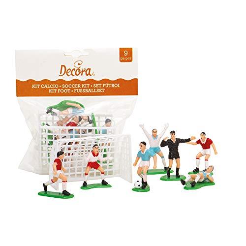 Decora 0816010 Set Calcio 9 Pezzi, 7 Giocatori e 2 Porte, Plastica