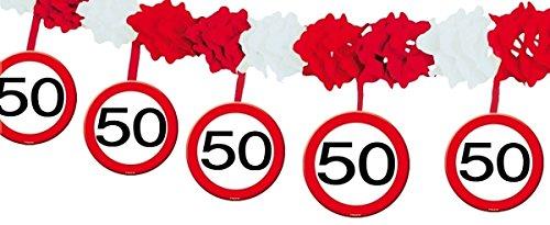 Papier Girlande Zahl 50 Verkehrsschild, Länge 4m, Material Papier