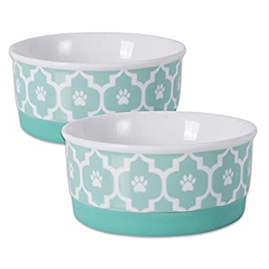 Bone Dry DII Lattice Ceramic Pet Bowl for Food & Water with Non-Skid Silicone Rim for Dogs and Cats (Small - 4.25  Dia x 2  H) Aqua - Set of 2