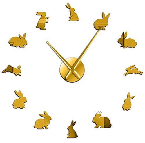 J-Clock Reloj Pared Grande DIY Moderno, Bonito Conejo 3D, Pegatina Espejo Metal, Relojes Grandes silenciosos, Decoraciones para el hogar, la Oficina y la Escuela