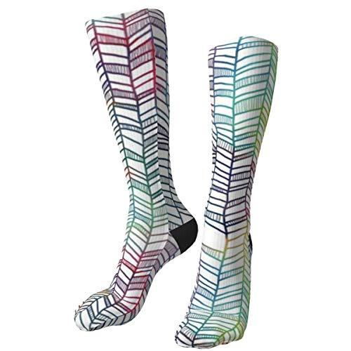 Rainbow Chevrons, Calcetines Gruesos y cálidos Personalizados, Calcetines de Vestir a Media Pierna, Calcetines Largos de Invierno Informales para Hombres y Mujeres