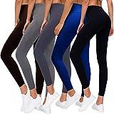 Premium Women's Leggings Soft High Waist Slimming Leggings Tummy Control Workout Yoga Pants (5 Pack-1 Black&1 Blue&1 Dark Grey&1 Light Grey&1 Coffee, Plus Size)