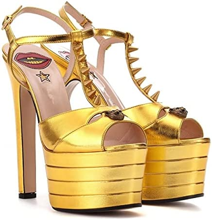 Summer Women's sexy sandals leather Outlet sale feature SALENEW very popular! rivet Shoes T peep high Heel