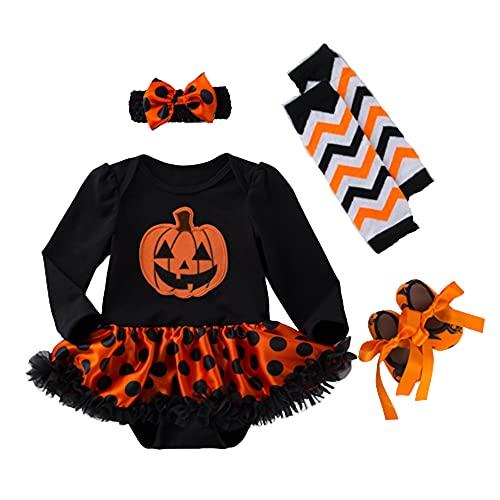 TMOYJPX Disfraces Niña Halloween Disfraz Mono Niño 0-24 Meses Invierno, Conjunto Ropa Bebe Niña, Mameluco de Falda+Banda de Pelo+Calcetines (3-6 meses, Calabaza~F)
