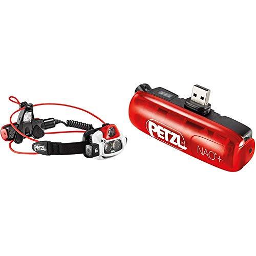 PETZL Erwachsene Nao Plus Stirnlampe, Black/Red, One Size & Erwachsene NAO2 Bluetooth Akku Für Die Nao +-stirnlampe, Rot, One Size