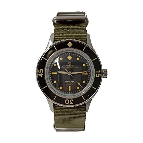 Walter Mitt Sea Wolf Army Automático Acero Negro Verde Tela NATO Reloj Militar Hombre
