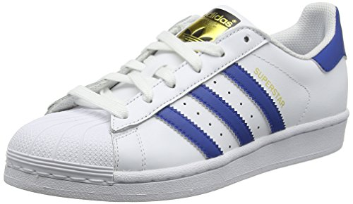 adidas Superstar Foundation J - Zapatillas de deporte infantil unisex, color blanco/ azul, talla 38 2/3